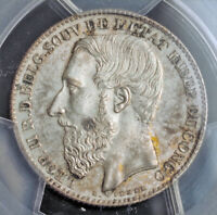 1887 CONGO FREE STATE  LEOPOLD II. SILVER 2 FRANCS COIN. KEY
