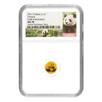 2017 1 GRAM CHINESE GOLD PANDA 10 YUAN NGC MS 70 EARLY RELEA