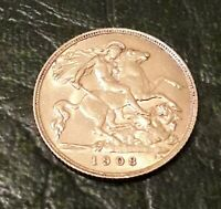 GOLD HALF SOVEREIGN COIN 1908 EDWARD VII
