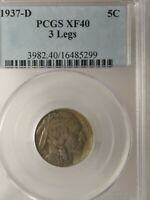 1937-D 3 LEGGED BUFFALO NICKEL, EXTRA FINE -40 BY PCGS  -   AWESOME KEY DATE