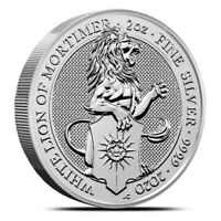 2020 GREAT BRITAIN 2 OZ SILVER QUEEN'S BEASTS WHITE LION OF MORTIMER COIN .9999