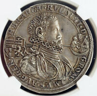 Click now to see the BUY IT NOW Price! 1598 HUNGARY RUDOLPH II. SILVER THALER COIN. NAGYBANYA    NGC AU 53