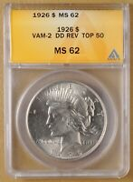 1926 P PEACE SILVER DOLLAR VAM-2 DDR ANACS MINT STATE 62 - TOP 50