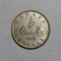 1937 CANADIAN SILVER DOLLAR COIN UNGRADED SOME WEAR NICE OVE