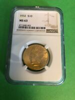1932 $10 INDIAN HEAD GOLD EAGLE COIN NGC GRADED MS 63 VERY G