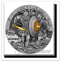 NIUE ISLAND ARES GOD OF WAR SERIES GODS $2 SILVER COIN 2017 GOLD PLATED 2 OZ