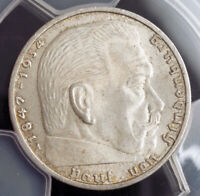 1937 GERMANY  3RD REICH . SILVER 2 MARK COIN. UNCIRCULATED  PCGS MS 65