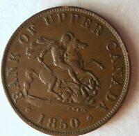 1850 CANADA  UPPER  1/2 PENNY   AU    TYPE   HIGH GRADE   LO