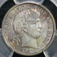 1910 10C BARBER DIME PCGS MINT STATE 65