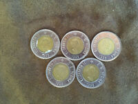 LOT OF 5 CANADIAN 2 DOLLAR COINS 1996