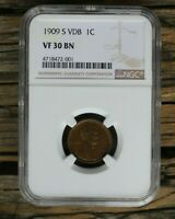 1909 S 1909 S VDB LINCOLN PENNY WHEAT CENT 1C NGC VF30 VF 30