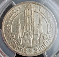 1923 DANZIG  FREE CITY . LARGE SILVER 5 GULDEN