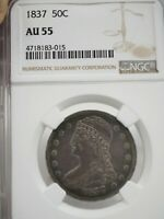 1837 CAPPED BUST HALF DOLLAR NGC AU-55  50C SILVER REEDED EDGE