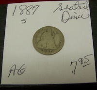 1887 S   SEATED LIBERTY DIME-ABOUT GOOD