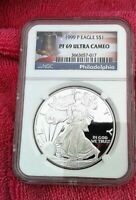 1999-P SILVER EAGLE NGC PF69 ULTRA CAMEO - LIBERTY BELL LABEL - BIG DISCOUNT