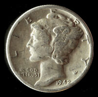 1942-P MERCURY 90 SILVER DIME SHIPS FREE. BUY 5 FOR $2 OFF