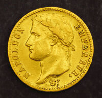 1814 FRANCE  EMPIRE  NAPOLEON I. GOLD 20 FRANCS COIN.  BETTER DATE   6.41GM