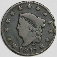 1817 1C CORONET OR MATRON HEAD N-12 LARGE CENT UNSLABBED