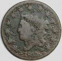 1835 1C CORONET OR MATRON HEAD N-9 LARGE CENT UNSLABBED