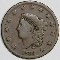 1834 1C CORONET OR MATRON HEAD N-1 LARGE CENT UNSLABBED