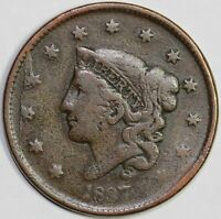 1837 1C CORONET OR MATRON HEAD N-2 LARGE CENT UNSLABBED