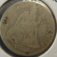 1883 SEATED LIBERTY 10C GRADED IN ALMOST GOOD  C118