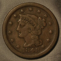 1848 BRAIDED HAIR LARGE CENT -- VF CONDITION