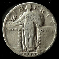 1929-P STANDING LIBERTY 90 SILVER QUARTER SHIPS FREE. BUY 5 FOR $2 OFF