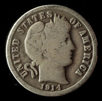 1914-D BARBER 90 SILVER DIME SHIPS FREE. BUY 5 FOR $2 OFF
