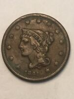 CORONET LARGE CENT, BRAIDED HAIR 1841CW3-19