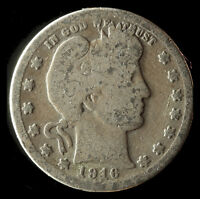 1916-P BARBER 90 SILVER QUARTER SHIPS FREE. BUY 5 FOR $2 OFF