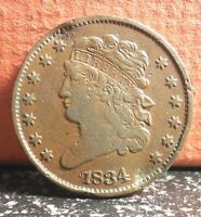 AND  1834 CLASSIC HEAD HALF CENT MINTAGE ONLY 141,000 READ