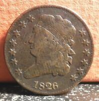 AND  1826 CLASSIC HEAD HALF CENT MINTAGE ONLY 234,000