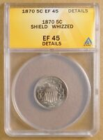 1870 SHIELD NICKEL ANACS EF 45 DETAILS