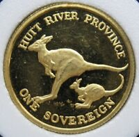 1985 HUTT RIVER PROVINCE SOVEREIGN PROOF GOLD   AUTOMOBILE CENTENNIAL   KANGAROO