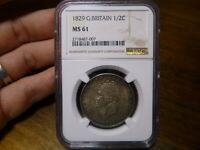 1829 GREAT BRITAIN GEORGE IV 1/2 CROWN NGC MS61 MINT STATE