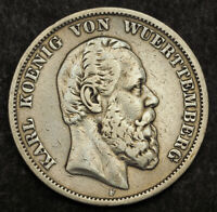 1874 KINGDOM OF WURTTEMBERG CHARLES I. SILVER 5 MARK COIN. 1
