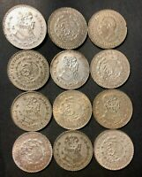 OLD MEXICAN COIN LOT   12 SILVER PESOS   EXCELLENT GROUP   L