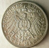 1906 GERMAN EMPIRE  BADEN  2 MARK   AU/UNC GEM   AWESOME SIL