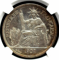 FRANCE INDO CHINA 1907A 1 PIASTRE NGC AU53 NICE SILVER COIN