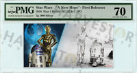 2018 SILVER STAR WARS R2 D2 & C 3PO   5 GRAM COIN NOTE   PMG