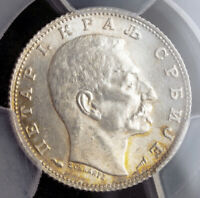1915 KINGDOM OF SERBIA PETER I. SILVER 1DINAR COIN. KM 25.3. PCGS MS 63