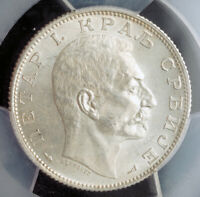 1915 KINGDOM OF SERBIA PETER I. SILVER 2 DINARA COIN. NONE HIGHER  PCGS MS 64
