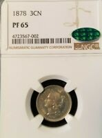 1878 THREE CENT PIECE 3CN NGC PF 65 WITH CAC STICKER  PROOF ONLY YEAR