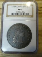 1795 3 LEAVES FLOWING HAIR UNITED STATES SILVER DOLLAR CERTIFIED NGC EXTRA FINE 45