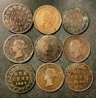 OLD CANADA COIN LOT   1881 1900   9 VICTORIAN LARGE CENTS