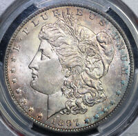 1897-O $1 MORGAN DOLLAR PCGS MINT STATE 62 BEAUTIFUL TONING