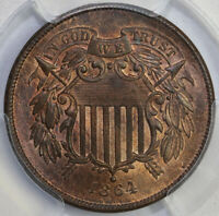 1864 2C LARGE MOTTO TWO CENT PIECE PCGS MINT STATE 65 RB