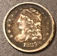 CIRCULATED 1834 CAPPED BUST HALF DIME 5C. IN   CONDITION L852