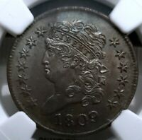 $AWESOME  1809 CLASSIC HEAD HALF CENT NGC UNC MS DETAILS  MAKE ME AN OFFER